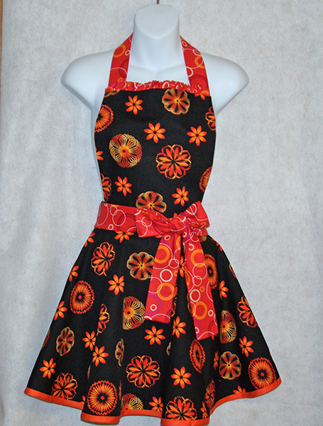 Black and Orange Diva Apron