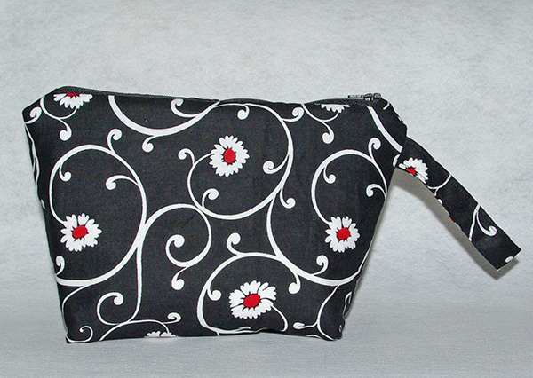 Black and White Flowers Cosmetic Bag