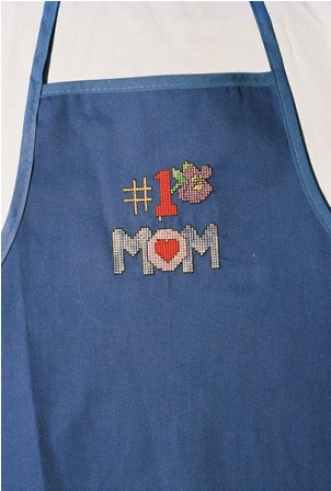 #1 Mom Apron with Flowers