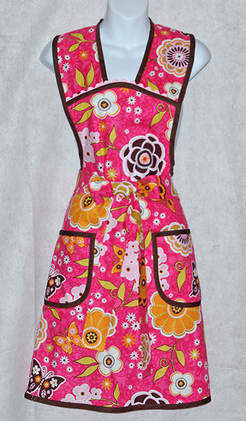 Pink and Chocolate Vintage Style Apron
