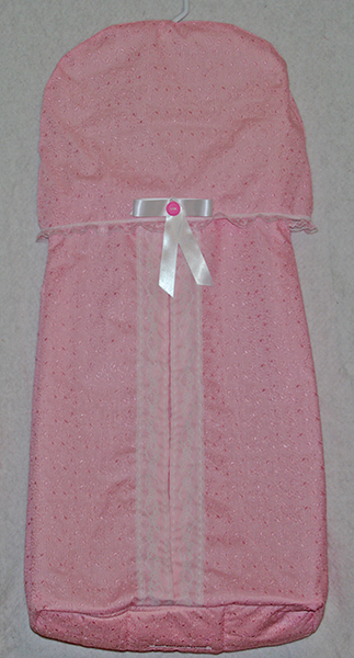 Pink Embroidered Diaper Stacker